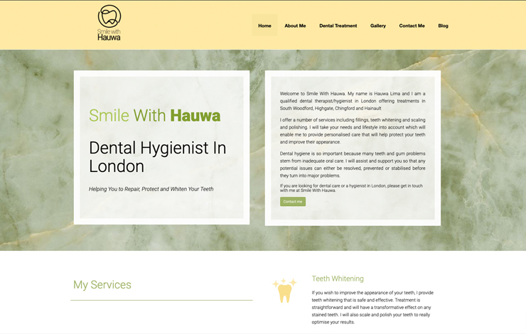 Website Design for Dental Hygienist in London | Smile With Hauwa