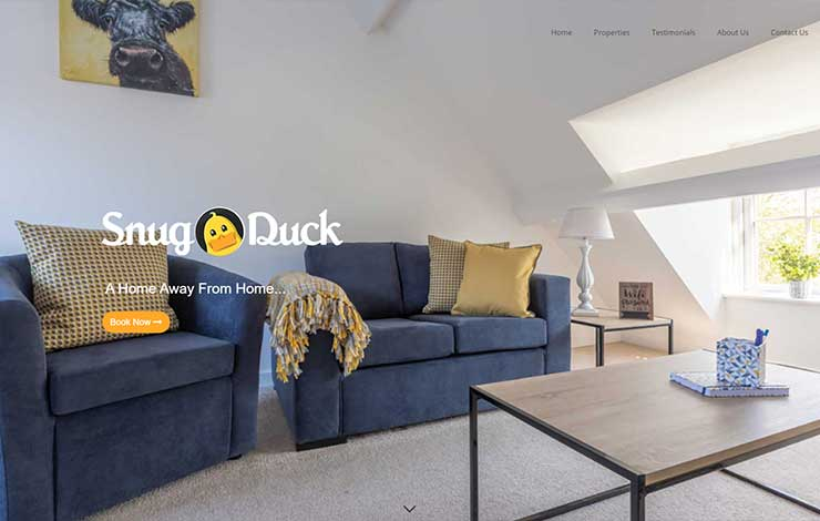 Website Design for Snug Duck | Serviced Accommodation in Farnborough
