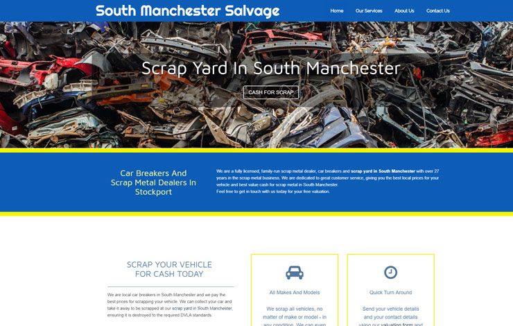 Website Design for Scrap Yard in South Manchester