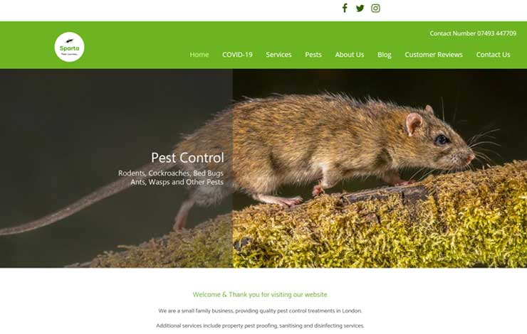 Website Design for Pest Control in London | Sparta Pest Control