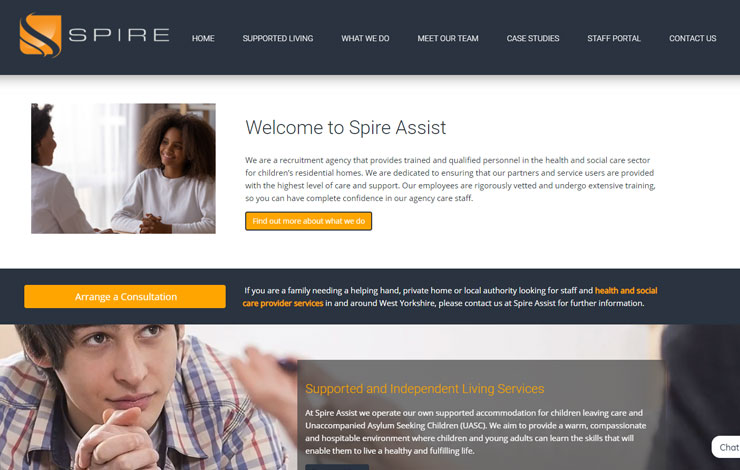 Website Design for Health And Social Care Services | Spire Assist