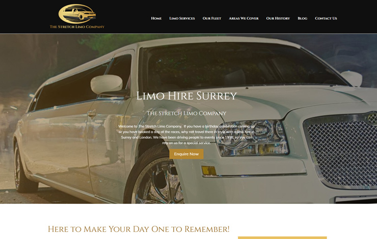 Website Design for Limo Hire in Surrey | The Stretch Limo Company