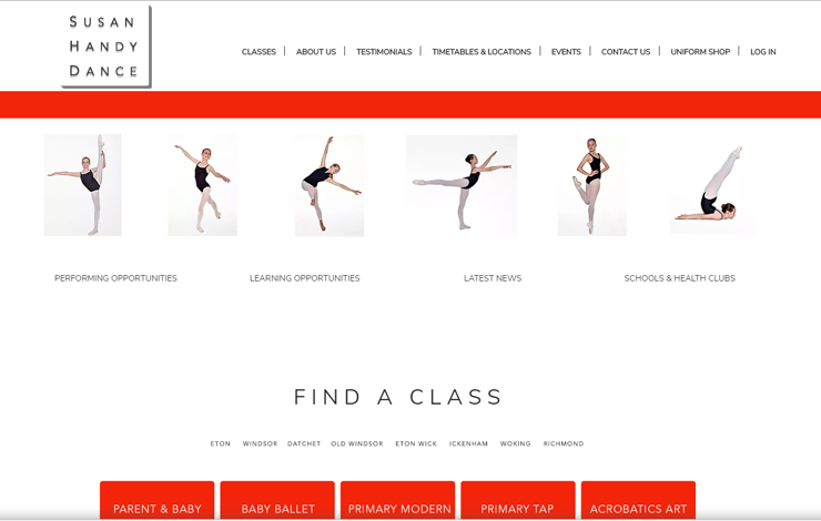 Website Design for Ballet School | Susan Handy Dance School