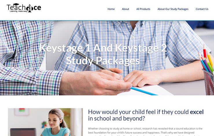 Website Design for Teach Ace | Home Study Packages for Keystage 1 and 2