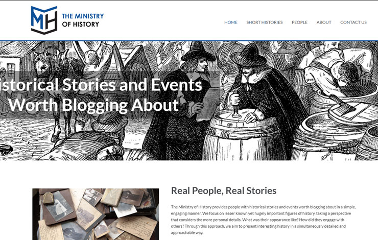 Website Design for The Ministry Of History | Historical Events Worth Blogging About