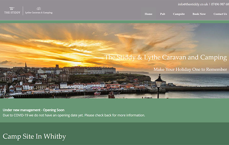 Website Design for Lythe Caravan & Camping | The Stiddy Pub | Camp site in Whitby
