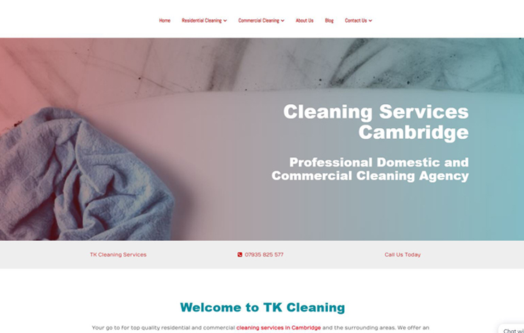 Website Design for TK Cleaning Services | Cleaning Services in Cambridge