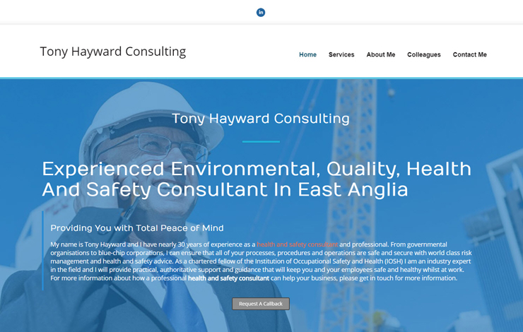 Website Design for Tony Hayward | Health and safety consultant in East Anglia