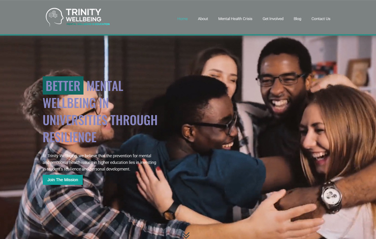 Website Design for Trinity Wellbeing | Students' mental wellbeing in higher education