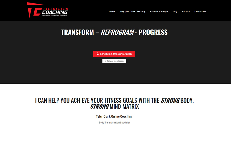 Website Design for Physique Coaching and Body Transformation
