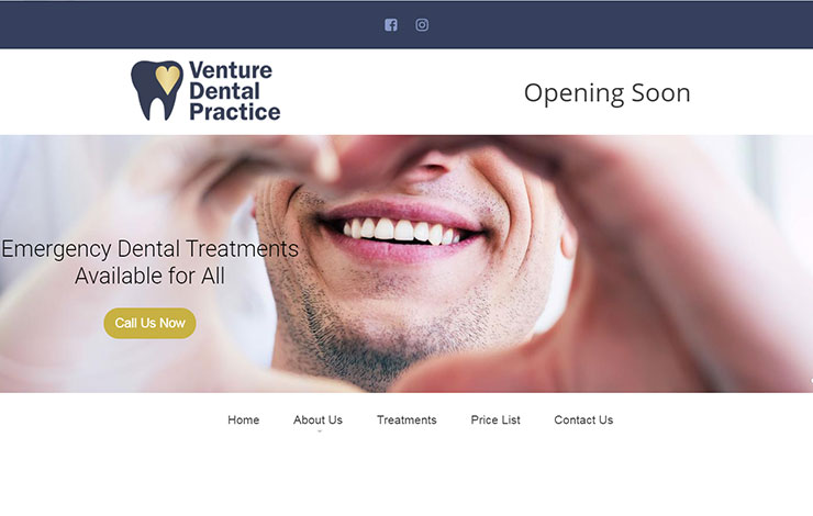 Website Design for Emergency Dentist in Kettering | Venture Dental Practice