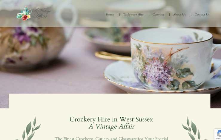 Website Design for Catering and Crockery Hire in West Sussex | Vintage Affair