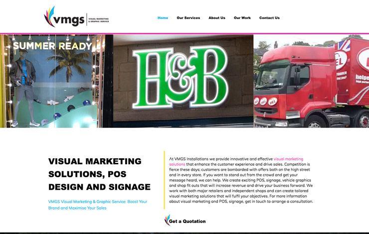 Website Design for Visual marketing solutions | POS design, signage and graphics | VMGS