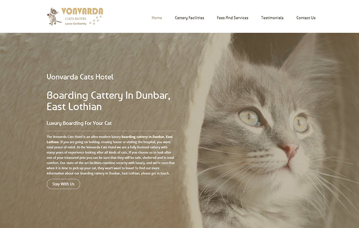 Website Design for Boarding cattery in Dunbar East Lothian | Vonvarda