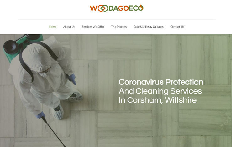 Website Design for Coronavirus Cleaning Services in Corsham | Woodago Eco Solutions