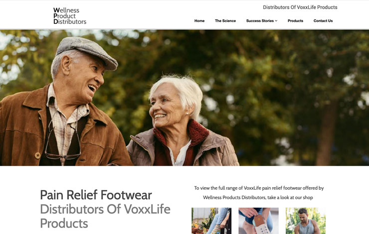Website Design for Pain Relief Footwear | Wellness Products Distributors