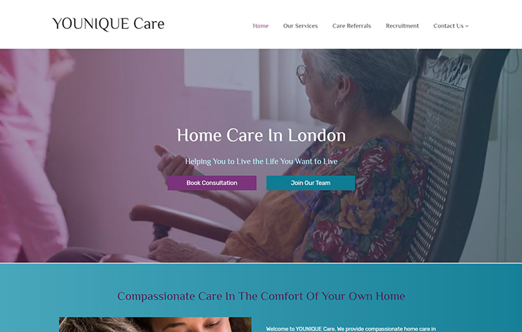 Website Design for Home Care in London | Supported Living | Younique Care