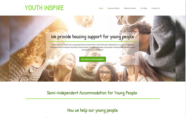Website Design for Semi-independent accommodation for young people