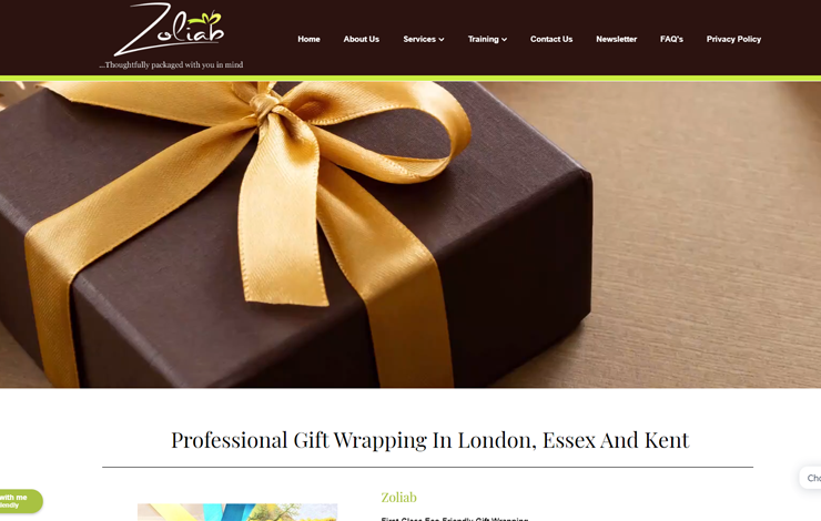 Website Design for Zoliab | Professional Gift Wrapping in London