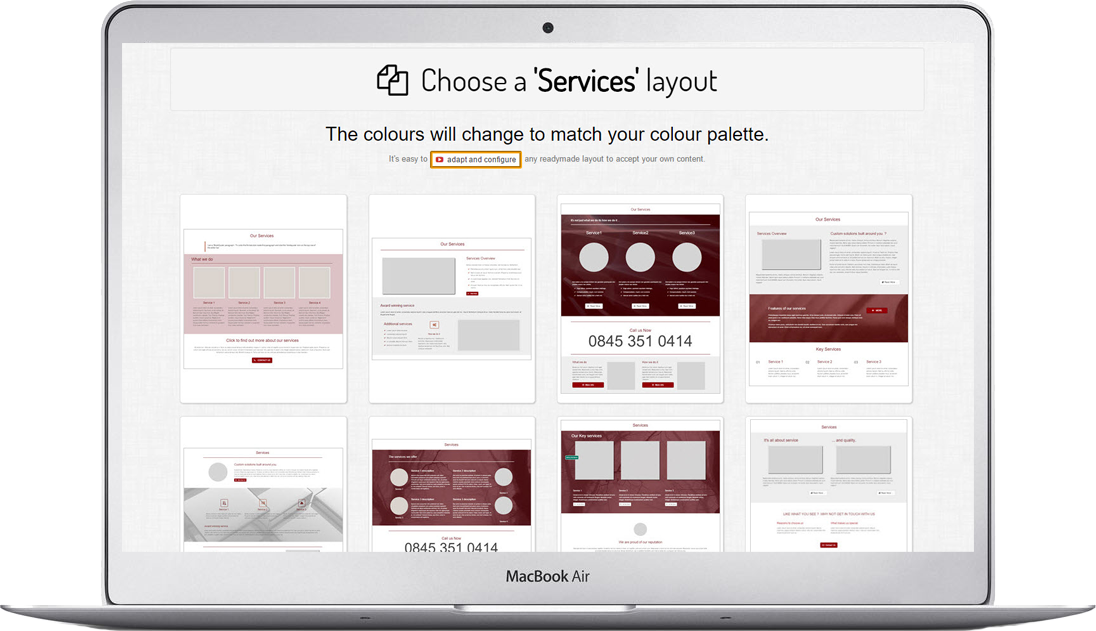 After choosing the page type select a layout for your new webpage
