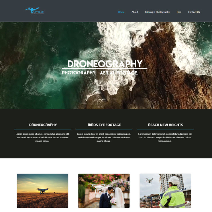 UK Website builder templete SkyBlue Drone Photography