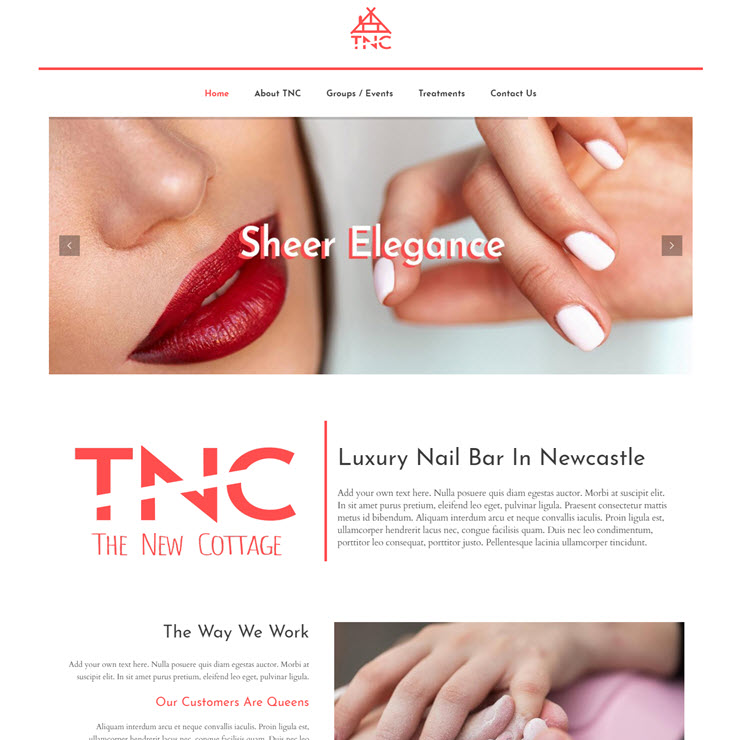 UK Website builder templete The New Cottage: Nail Salon