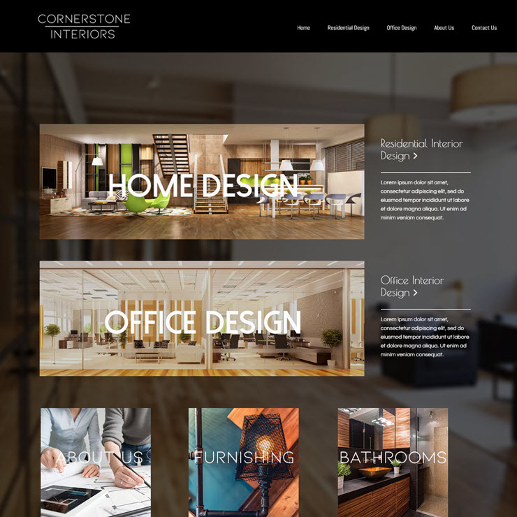 UK Website builder templete Cornerstone Interior Design