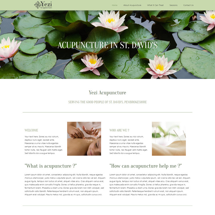 UK Website builder templete Acupuncture Clinic: Yezi Acupuncture