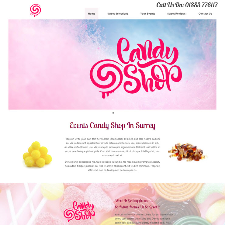 UK Website builder templete The Candy Shop