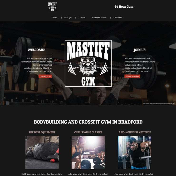UK Website builder templete Hardcore Gym/Personal Trainers: MASTIFF GYM