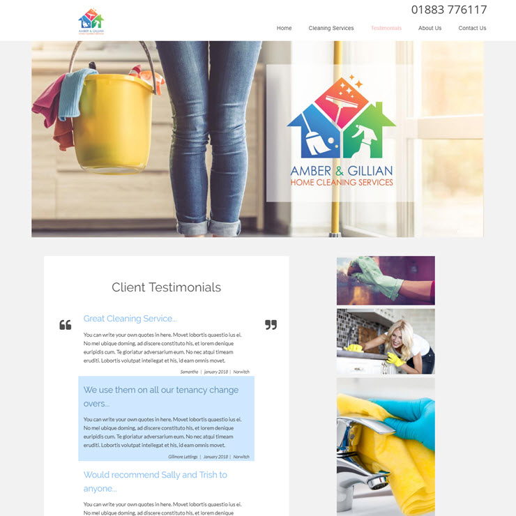 UK Website builder templete Amber & Gillian Home Cleaning