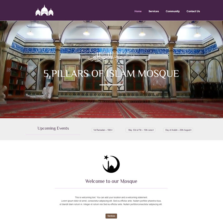 UK Website builder templete 5 Pillars Mosque