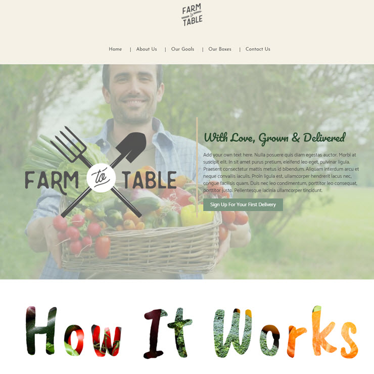 UK Website builder templete Food Delivery: FARM TO TABLE