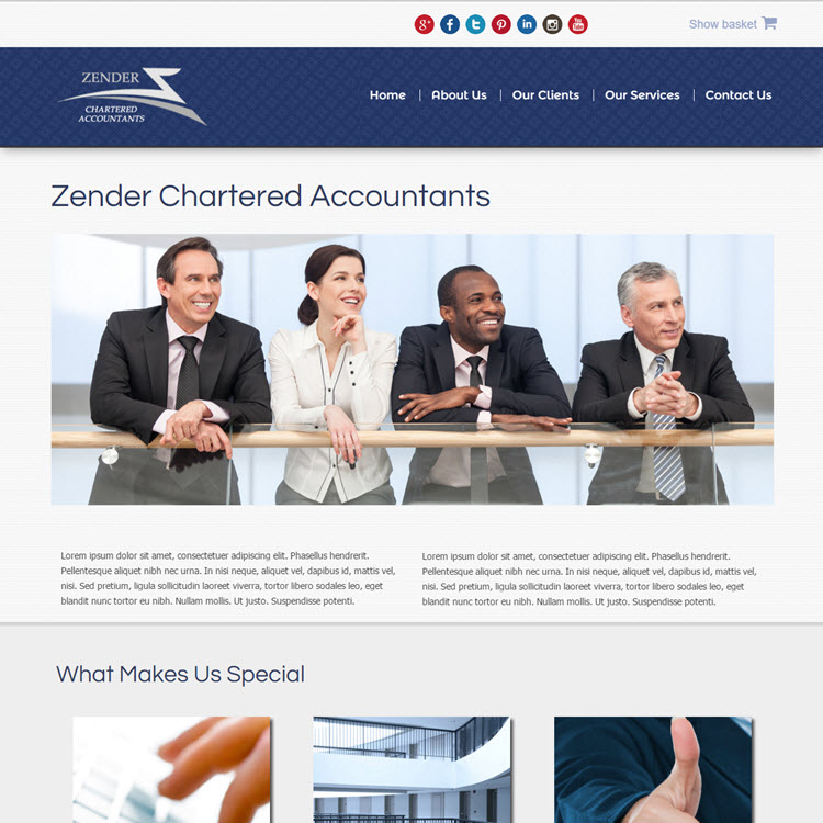 UK Website builder templete Zender Accountants