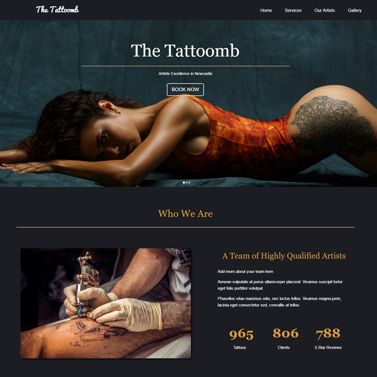 UK Website builder templete Tattoo site