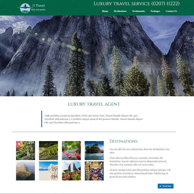 UK Website builder templete JJ Travel green site