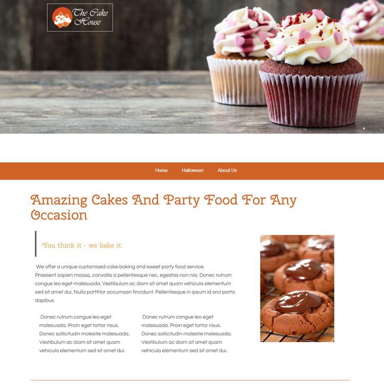 UK Website builder templete The Cake House
