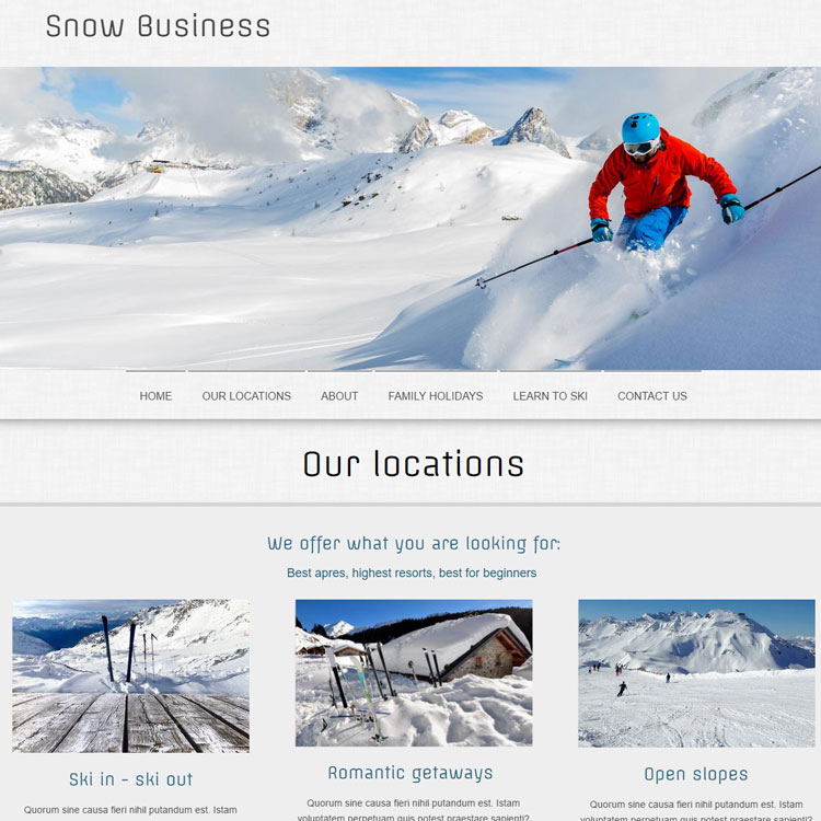 UK Website builder templete Winter sports