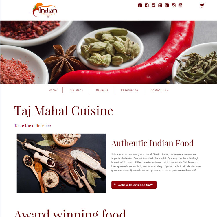 UK Website builder templete Indian Restaurant