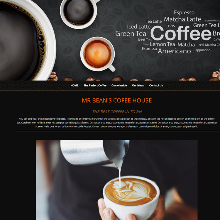 UK Website builder templete Coffee shop