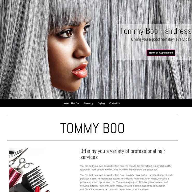 UK Website builder templete TommyBoo Hairdressers