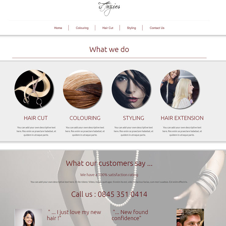 UK Website builder templete Suzie's Snips