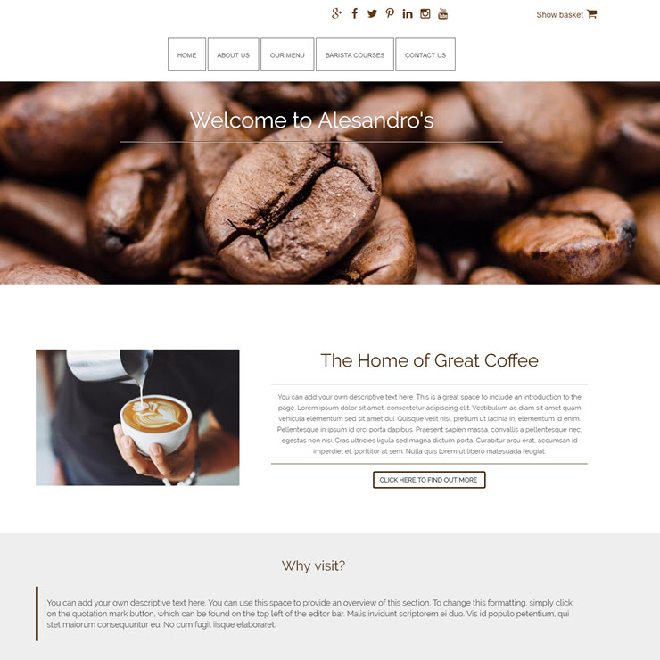 UK Website builder templete Alessandro coffee house