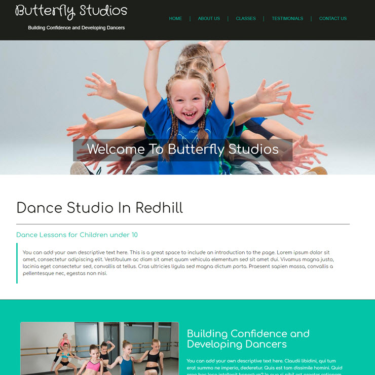 UK Website builder templete Butterfly dance studios
