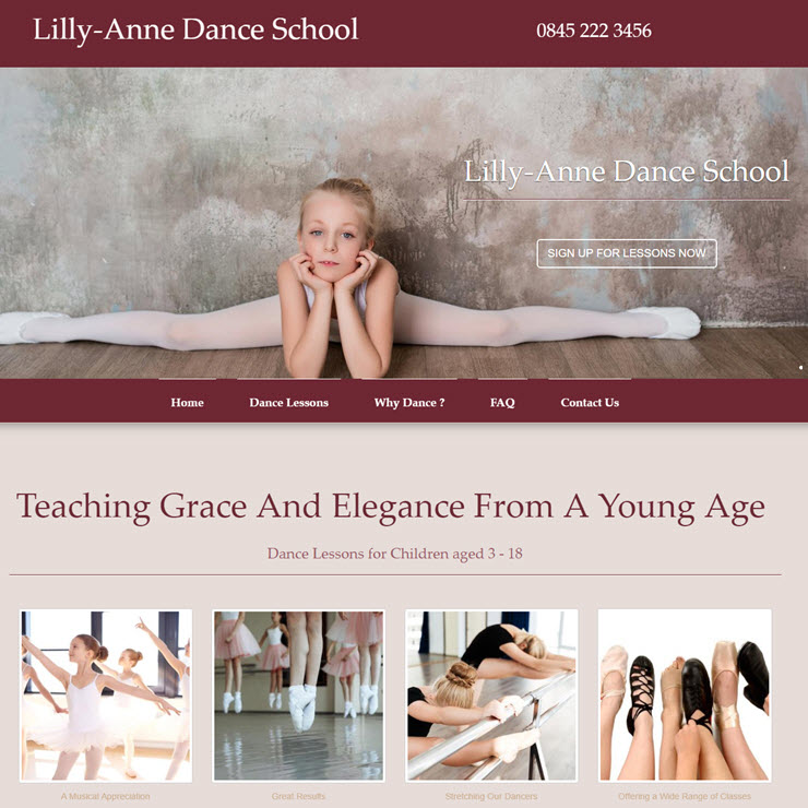UK Website builder templete Lilly Anne Dance School