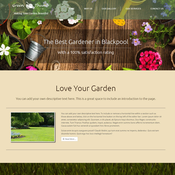 UK Website builder templete Green Thumb Gardening