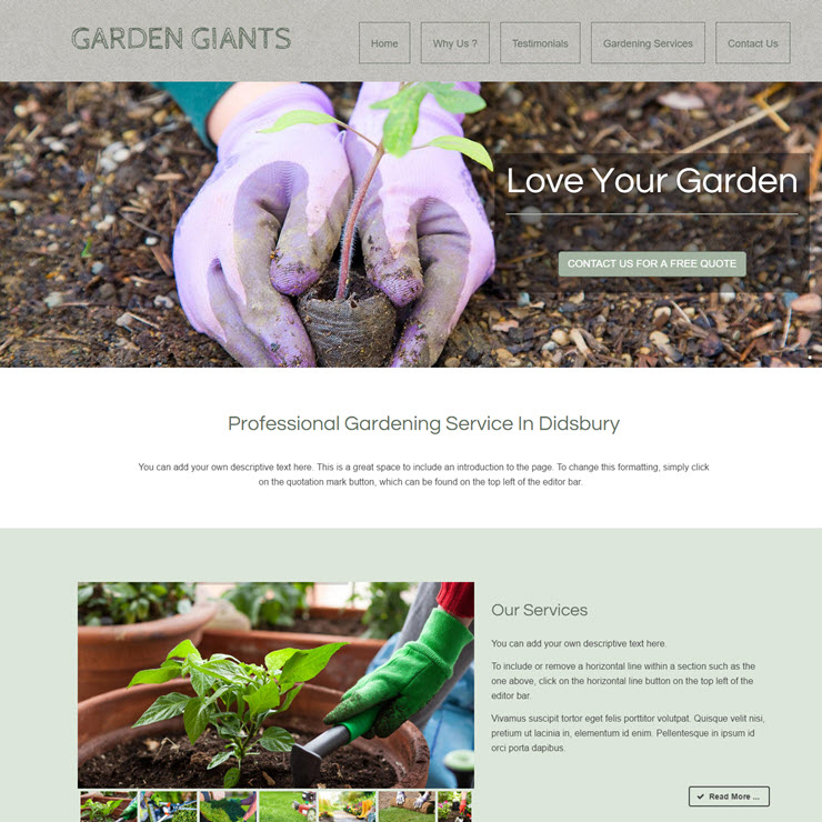 UK Website builder templete Garden Giants Gardening