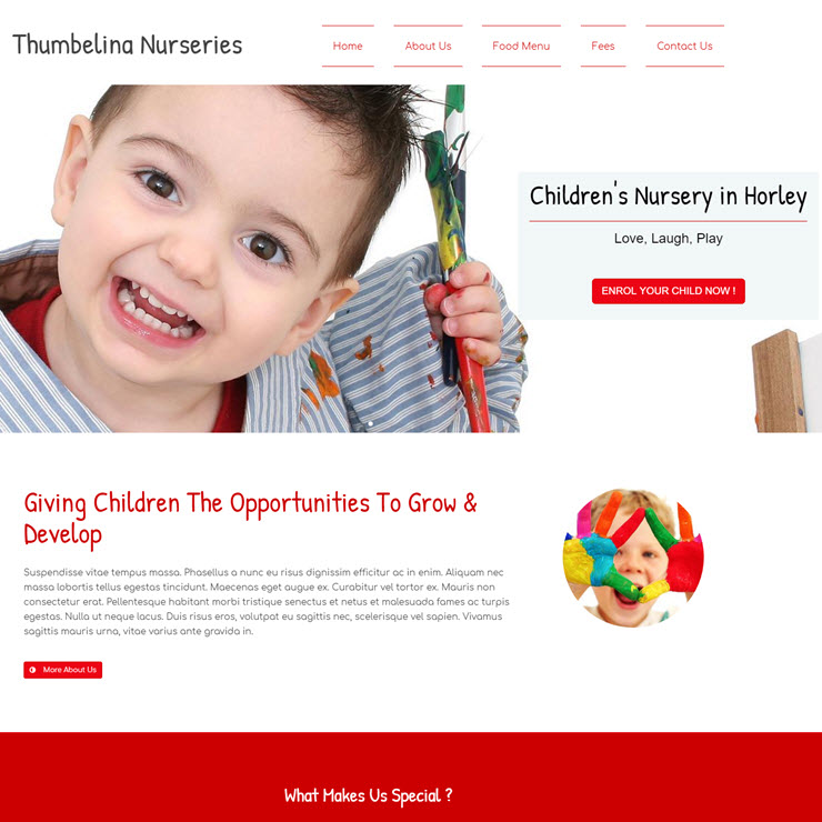 UK Website builder templete Thumbellina Nursery