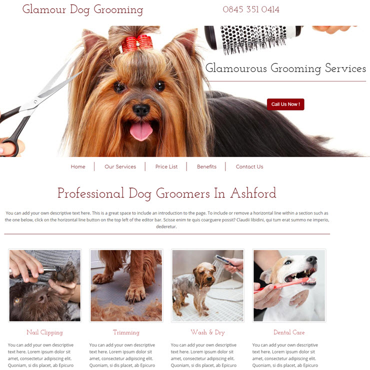 UK Website builder templete Glamorous dog grooming