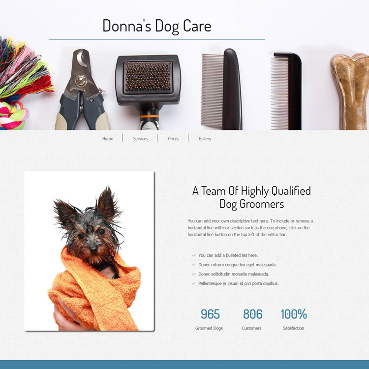 UK Website builder templete Donna Dog Care